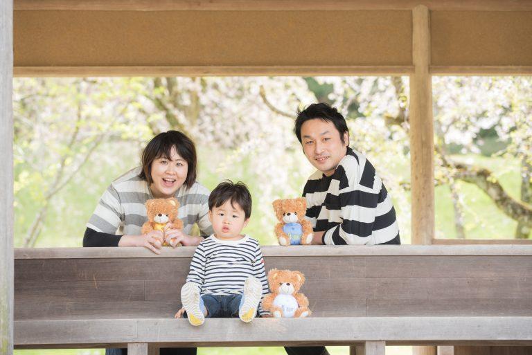 石川県桜の下での家族写真