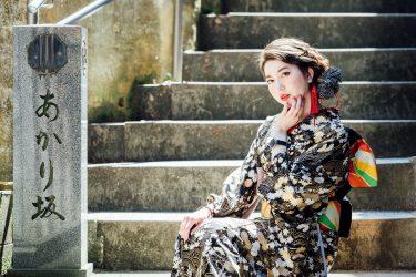 金沢・主計町茶屋街周辺で着物撮影